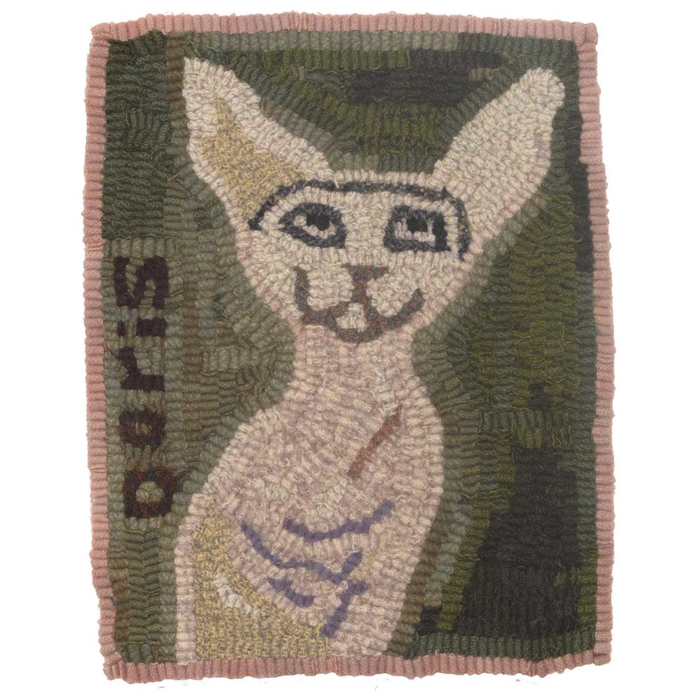Doris the Cat Hooked Rug