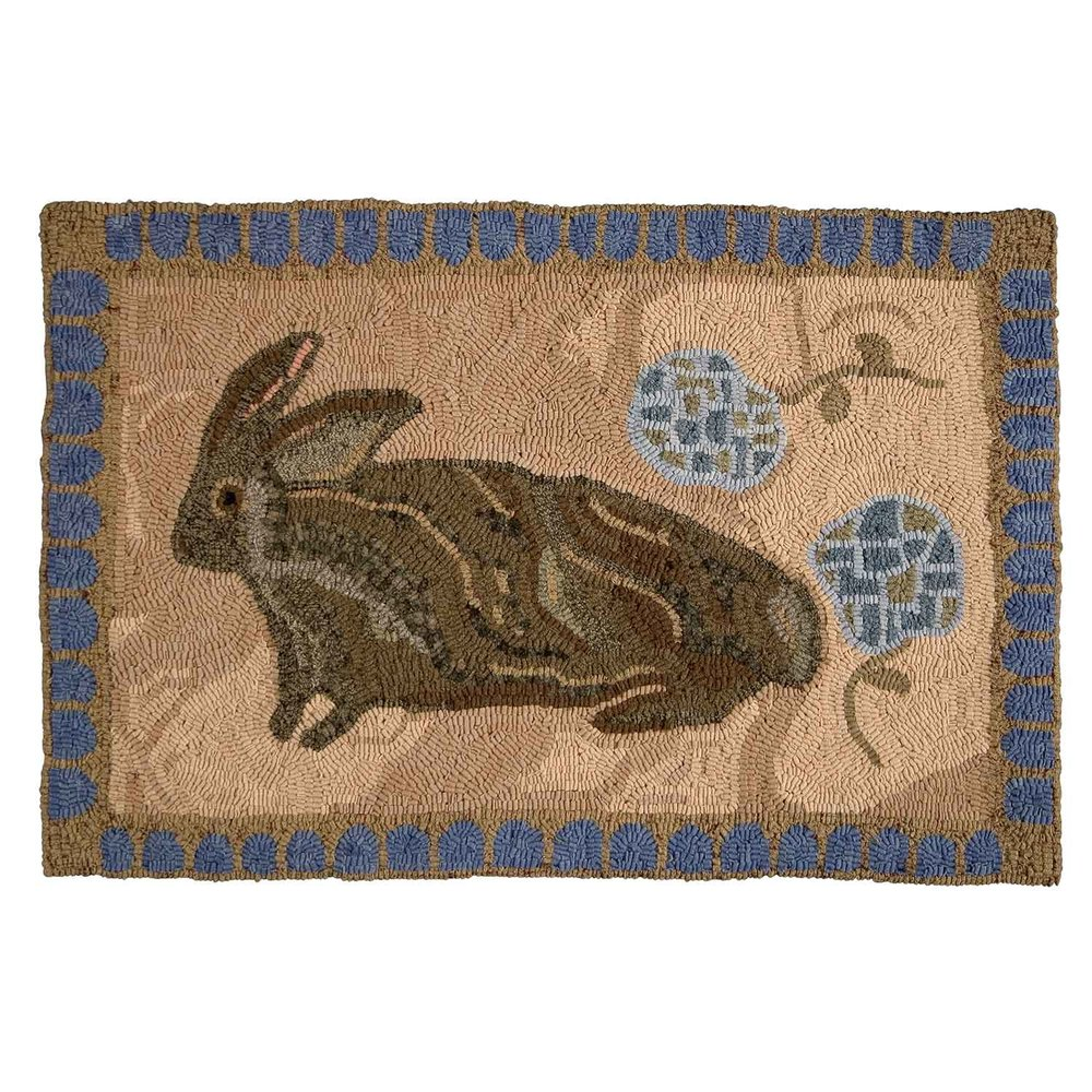 Cape Cod Rabbit Hooked Rug
