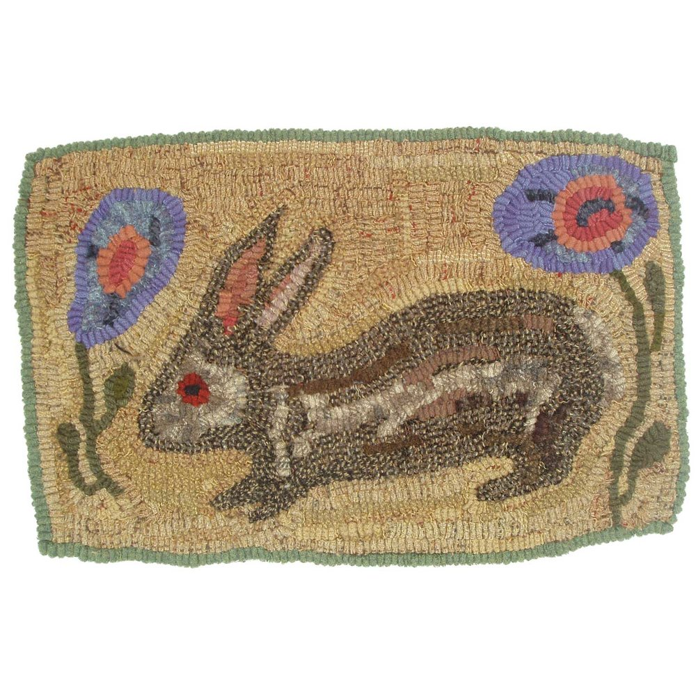Little August Rabbit Hooked Rug