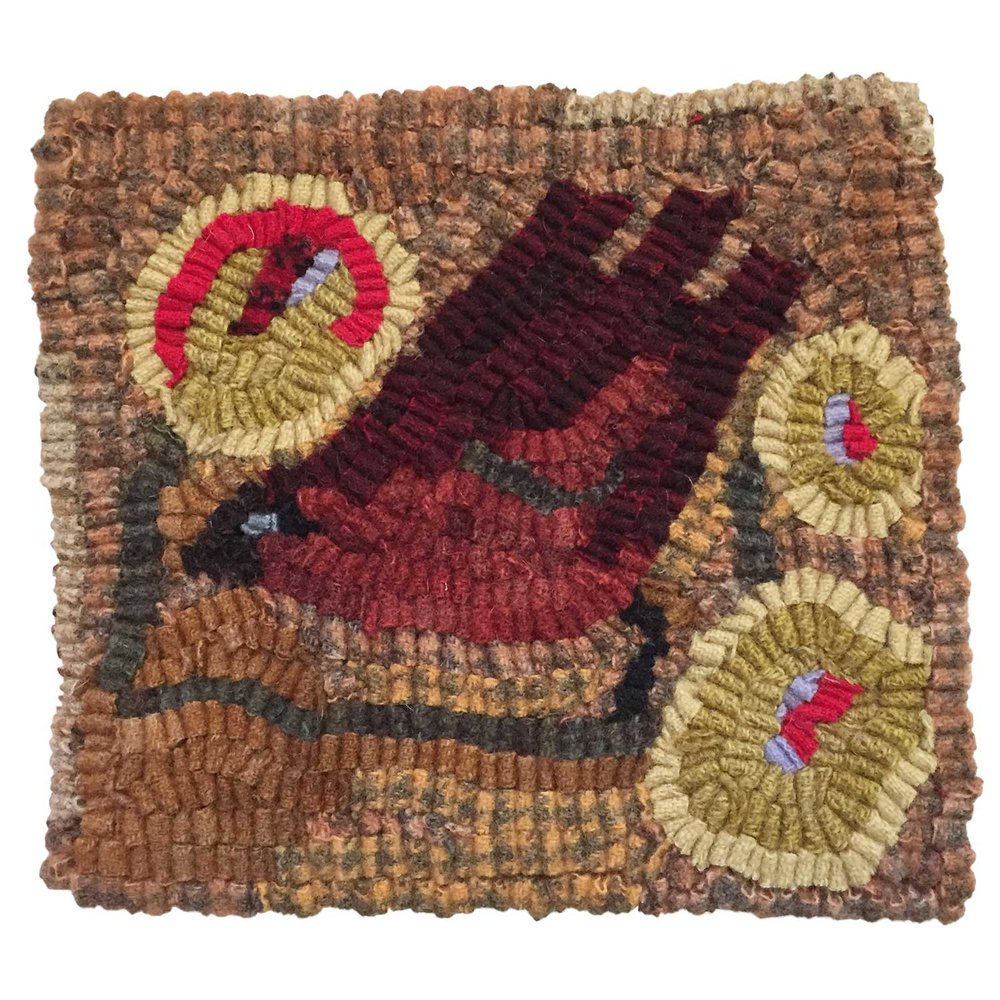 Asa the Bird Hooked Rug