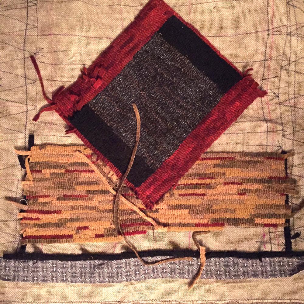 Hooked rug of geometric design in progress