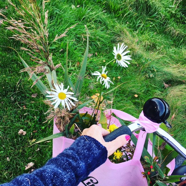 Picking wildflowers on my bike!
