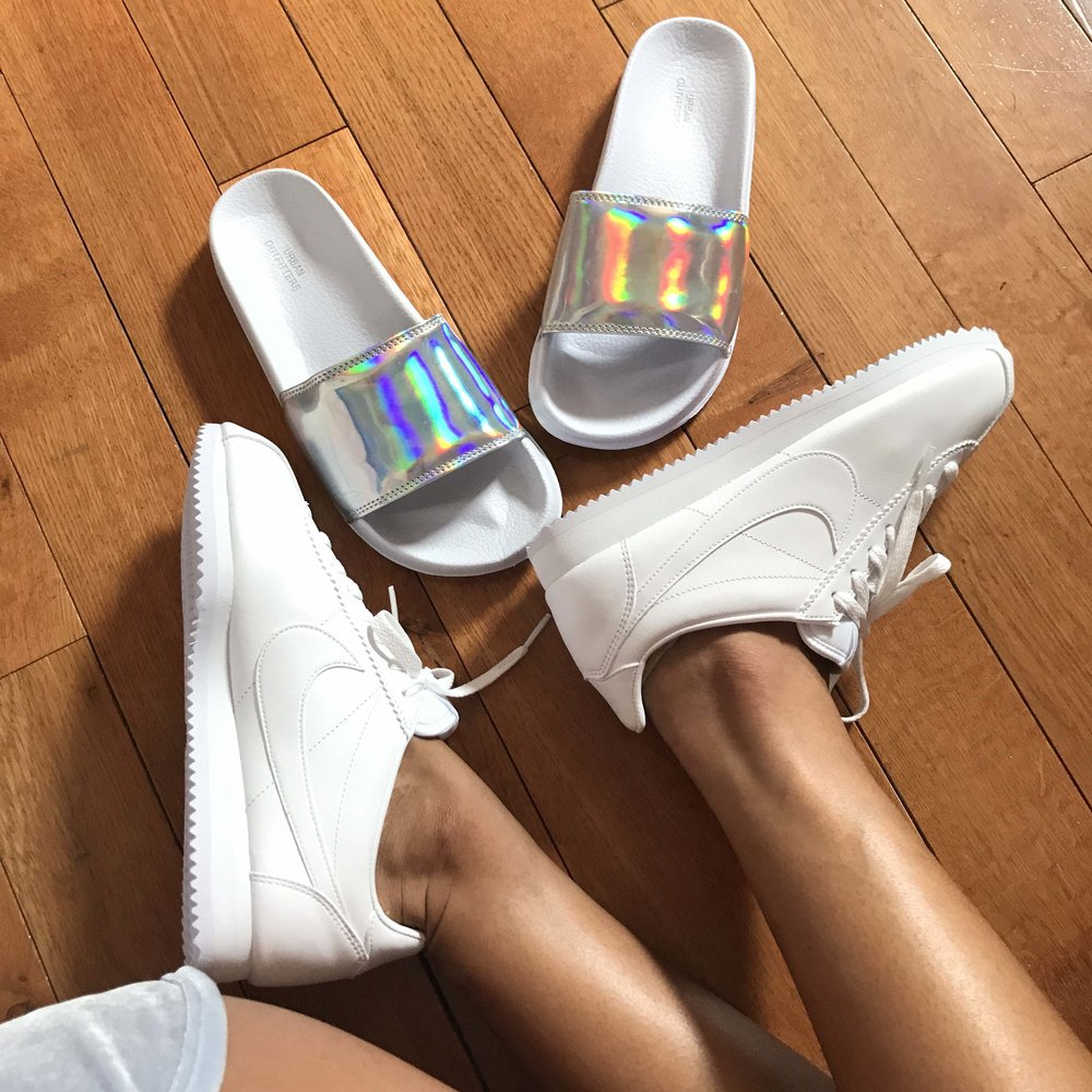 Pool Slides: Urban Outfitters  Sneakers: Nike Cortez