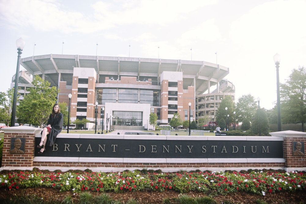 University of Alabama graduation portrait photography in Tuscaloosa, Alabama Bryant-Denny Stadium
