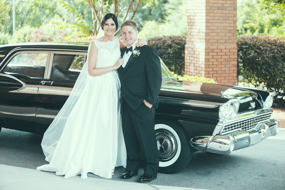 Morgan and Nick's wedding photography with a 1959 Ford Fairlane at Rainbow Presbyterian in the Gadsden, Alabama area by David A. Smith of Birmingham, Alabama
