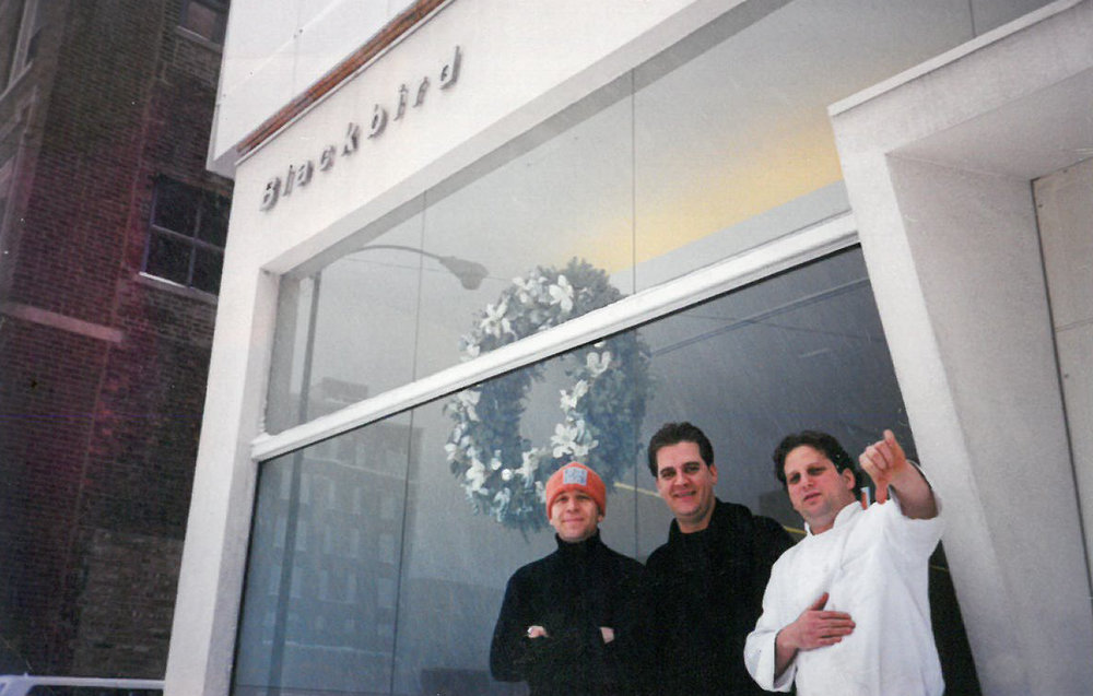 Donnie Madia Gianfrancisco, Rick Diarmit, and Paul Kahan outside Blackbird, after a snowstorm in the winter of 1999.
