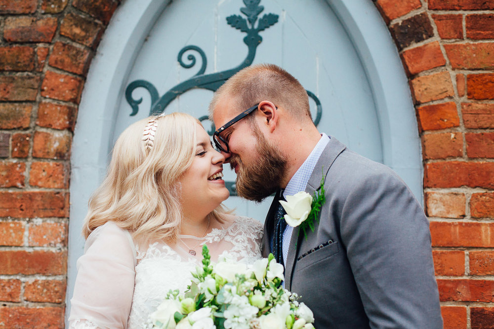 Cute Couple Photo DIY Back Garden Wedding, Newark