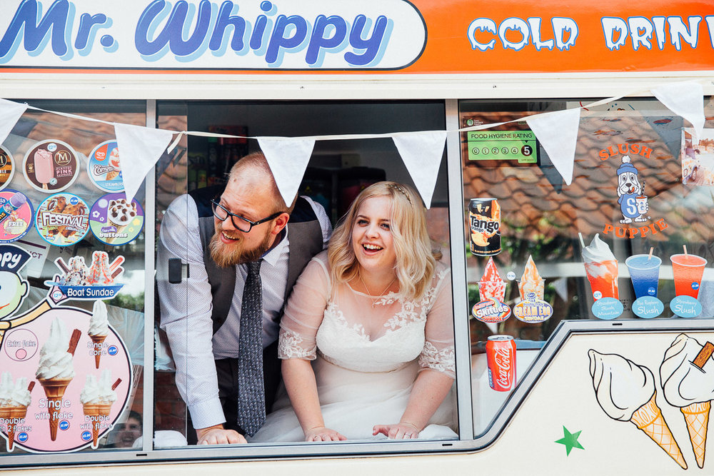Couple in Ice Cream Van DIY Back Garden Wedding, Newark