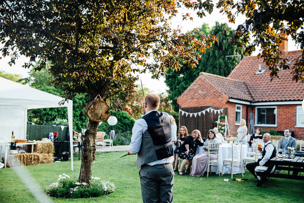 Axe Throwing DIY Back Garden Wedding, Newark