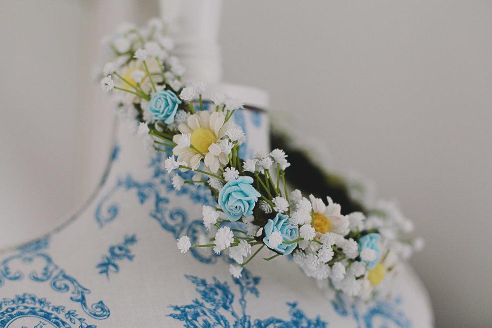 Wedding Flower Crown Pastel - UK Alternative Wedding Photography Chloe Lee Photo