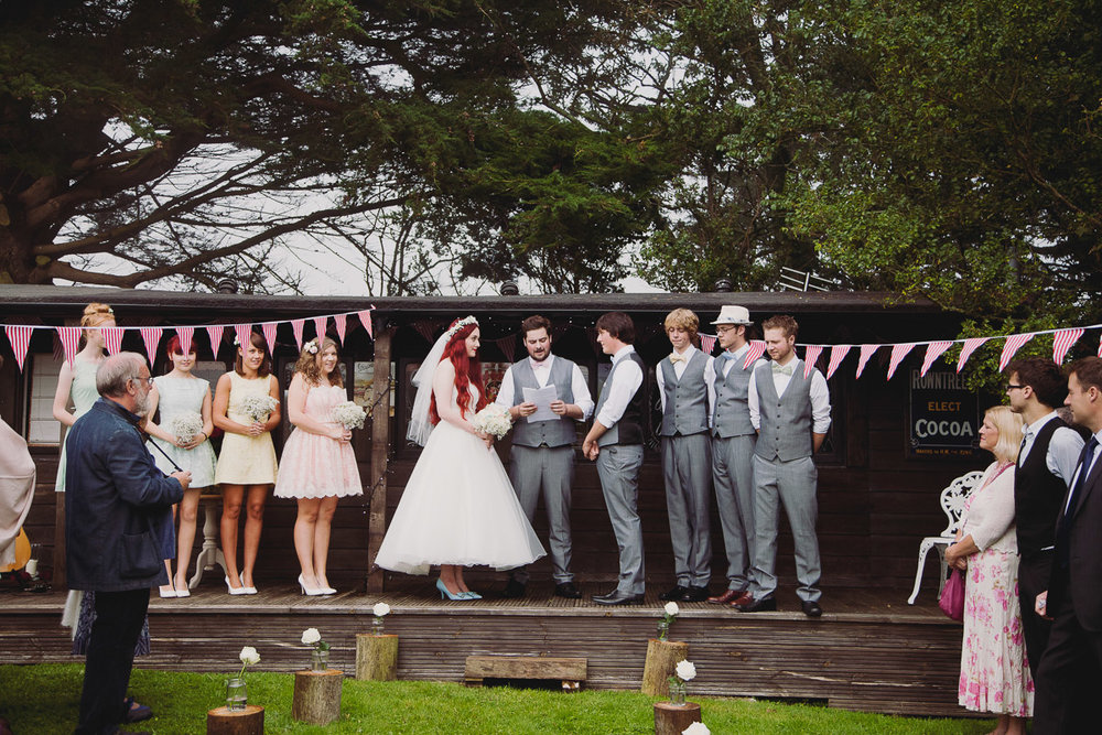 Humanist Wedding Ceremony Train Carriage - UK Alternative Wedding Photography Chloe Lee Photo