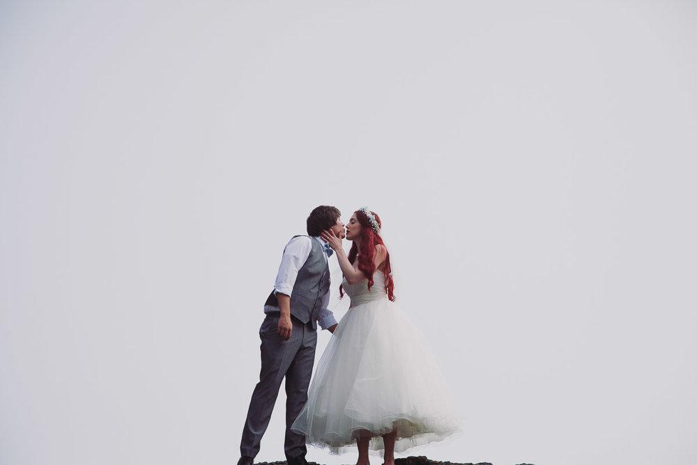 Disney Inspired Wedding Beach Portraits - UK Alternative Wedding Photography Chloe Lee Photo