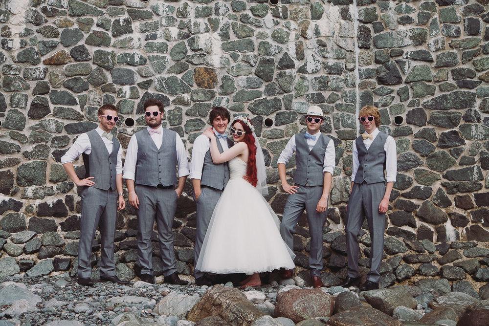 Fun Beach Wedding Photo - UK Alternative Wedding Photography Chloe Lee Photo