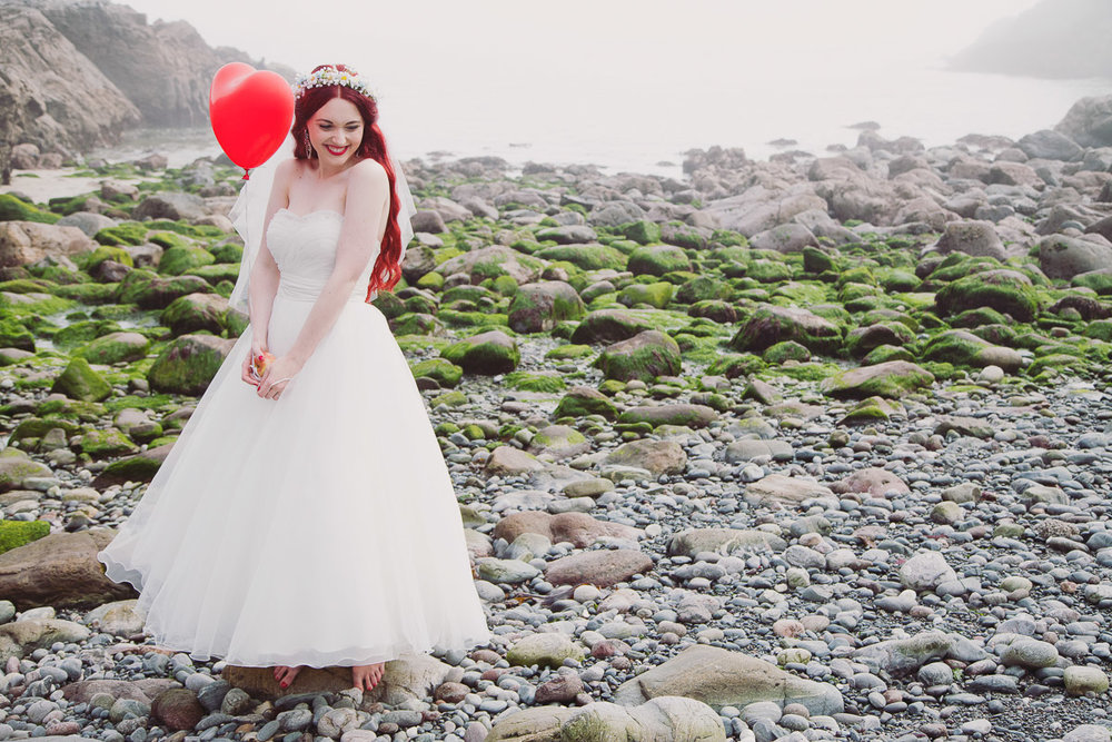 Red Head Bride Beach Portrait Disney Inspired - UK Alternative Wedding Photography Chloe Lee Photo