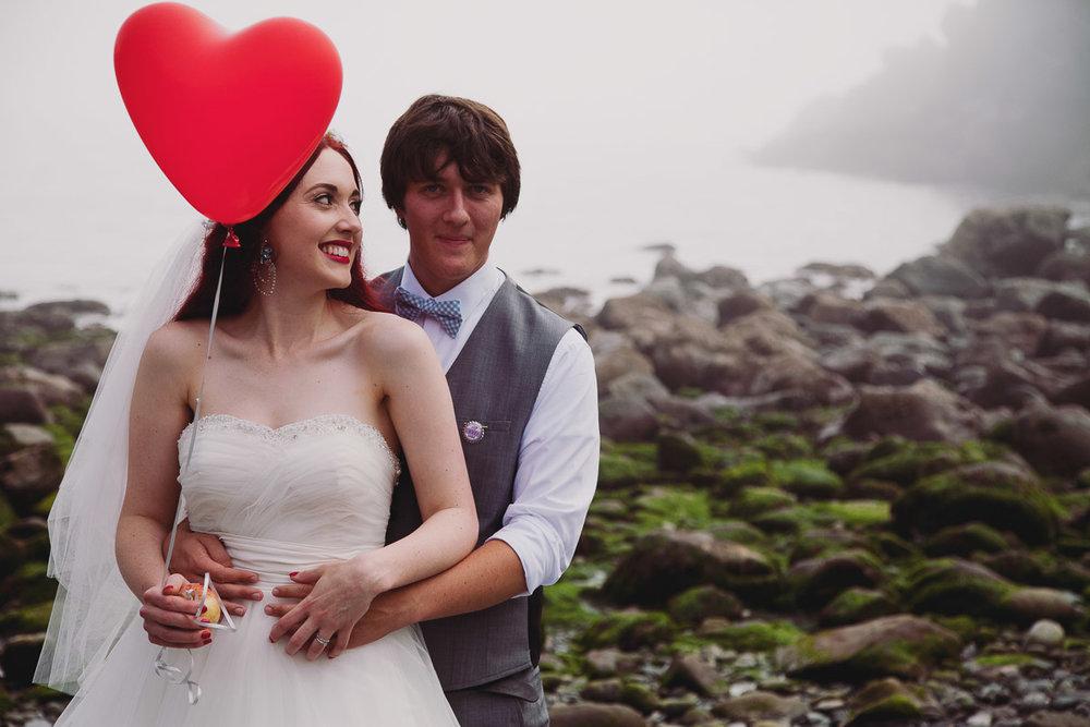 Cute Beach Wedding Portrait - UK Alternative Wedding Photography Chloe Lee Photo