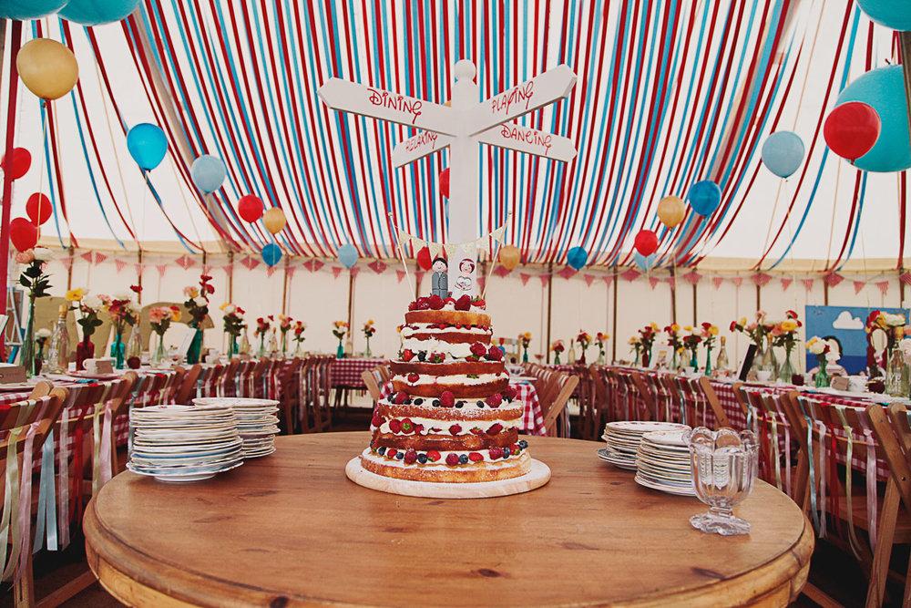Disney Inspired Wedding Decor Naked Cake- UK Alternative Wedding Photography Chloe Lee Photo