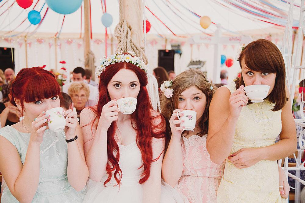 Disney Inspired Wedding Bridal Party Teacups - UK Alternative Wedding Photography Chloe Lee Photo