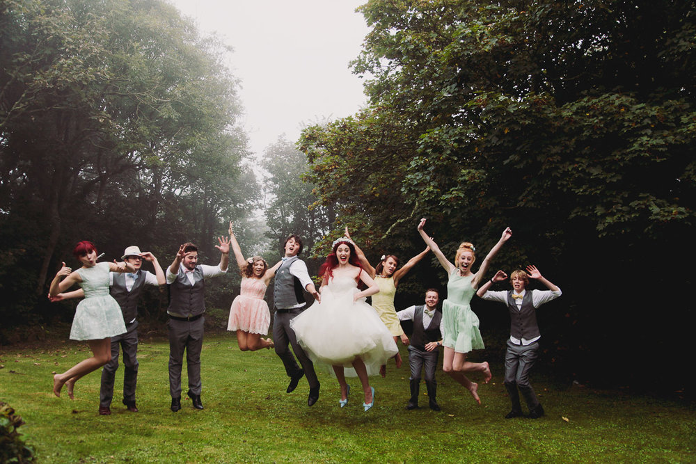 Disney Inspired Wedding Fun Group Shot - UK Alternative Wedding Photography Chloe Lee Photo