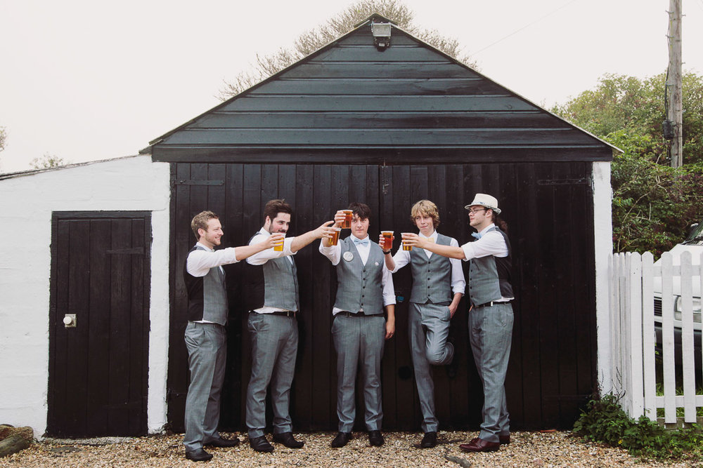 Groomsmen Toasting Beer - UK Alternative Wedding Photography Chloe Lee Photo
