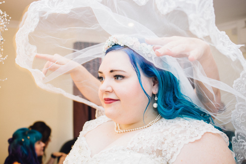 blue hair bride with veil