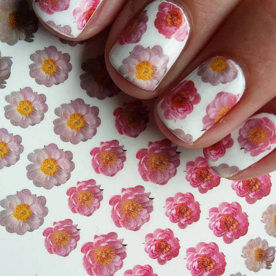 Pretty Peony nail decals by KimsNailedIt
