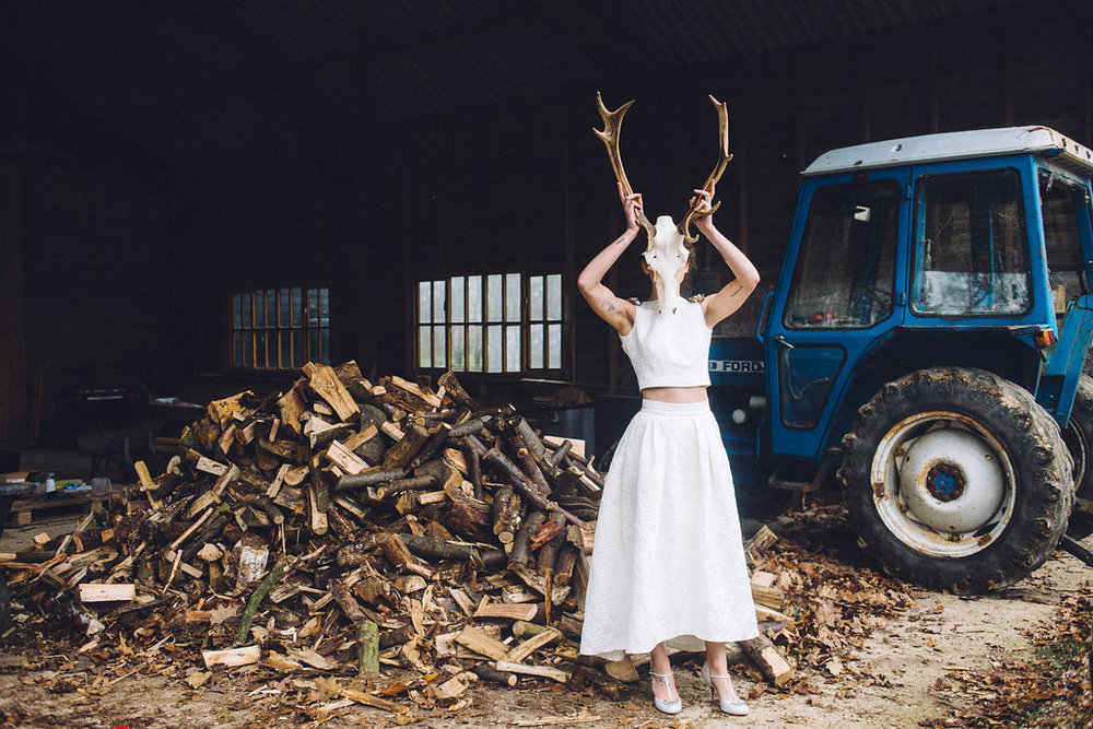 Bride with SKull Rock The Frock Bridal - Captains Wood Barn Essex