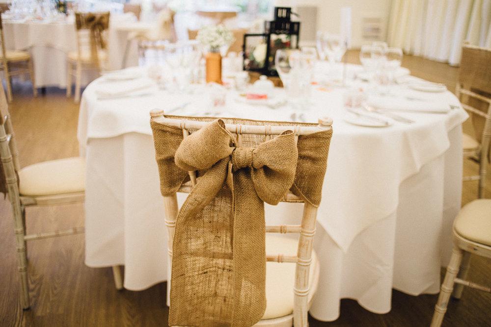Hessian Chair Bows Rustic Autumnal Wedding Fennes Essex - Alternative Wedding Photography