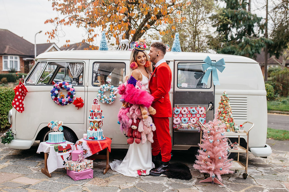 Alternative kitsch christmas shoot - alternative Essex wedding photographer