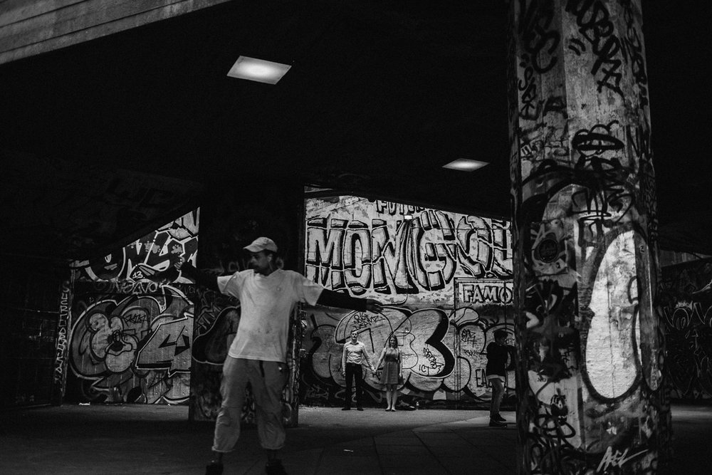 London Engagement Shoot Southbank Skateboarder