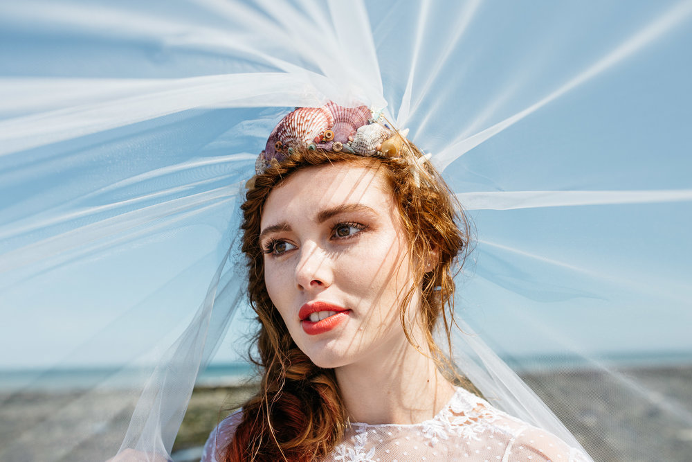 Disney Ariel Little Mermaid inspired Wedding Shoot, Joss Bay, Kent - Alternative Kent wedding Photographer