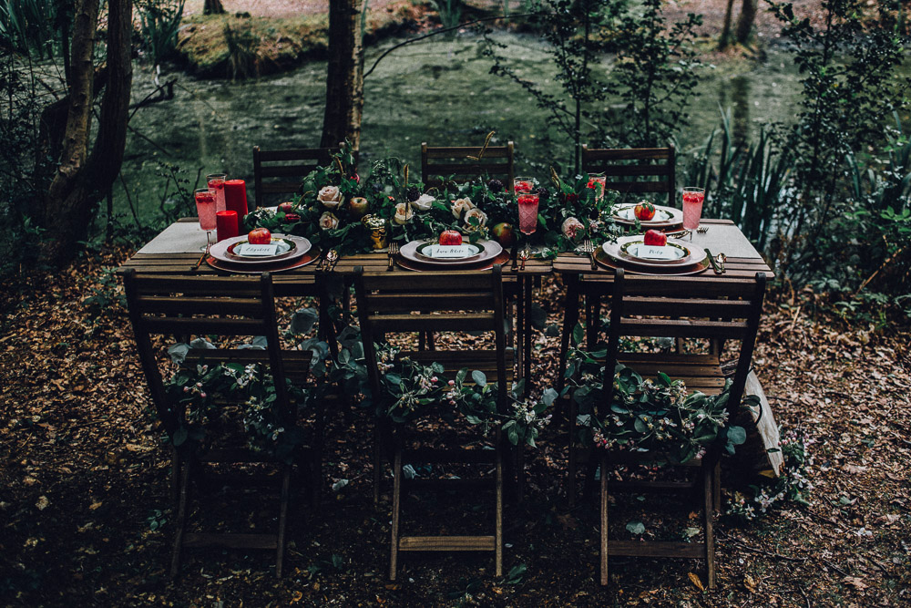 Snow White Disney Woodland Rustic Table Setting  - Alternative Essex Wedding Photographer