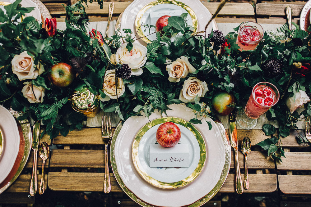 Snow White Disney Table Setting Ideas  - Alternative Essex Wedding Photographer