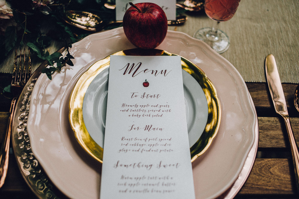 Rustic Disney Snow White Menu on Plates  - Alternative Essex Wedding Photographer