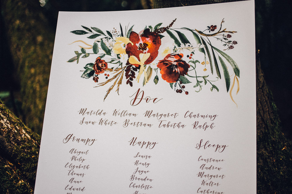 Disney Snow White Table Plan Ideas  - Alternative Essex Wedding Photographer