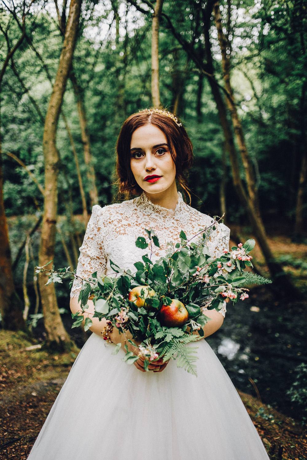Disney Snow White Bridal Bouquet with Apples  - Alternative Essex Wedding Photographer