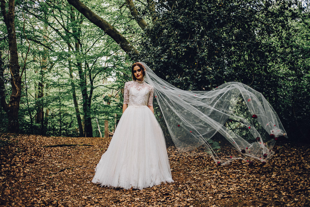 Disney Snow White Bridal Ideas Veil with Roses - Alternative Essex Wedding Photographer
