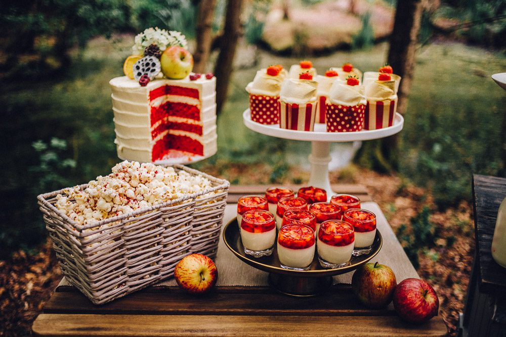 Disney Snow White Wedding Dessert Table - Alternative Essex Wedding Photographer