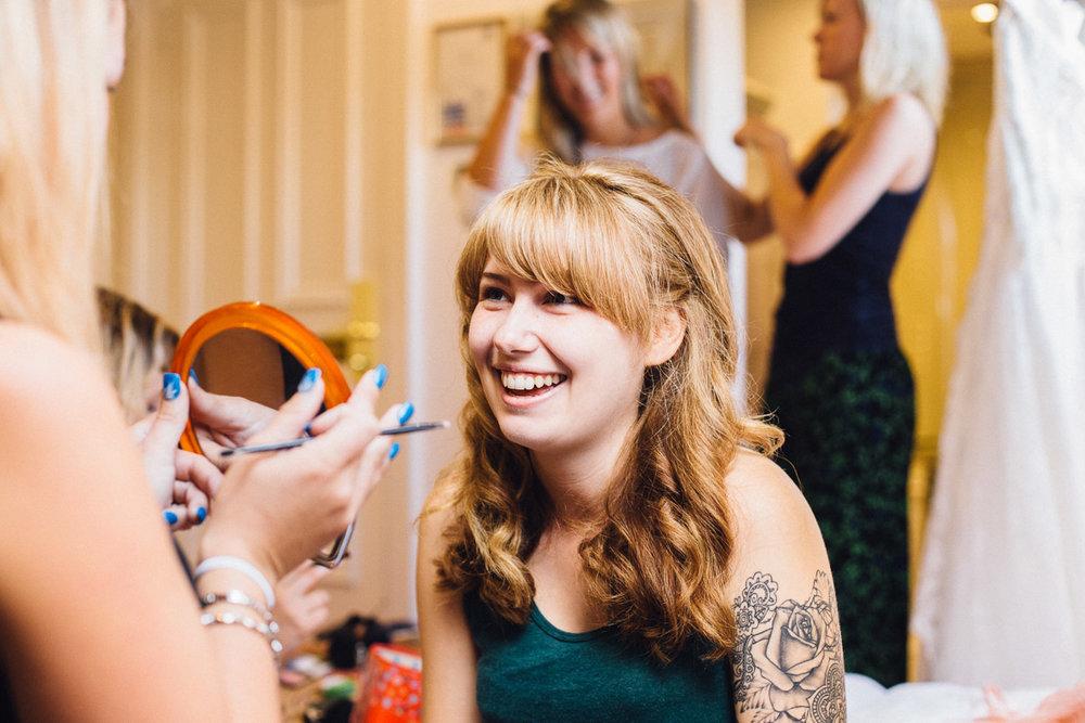 Alternative Bride getting Make up done