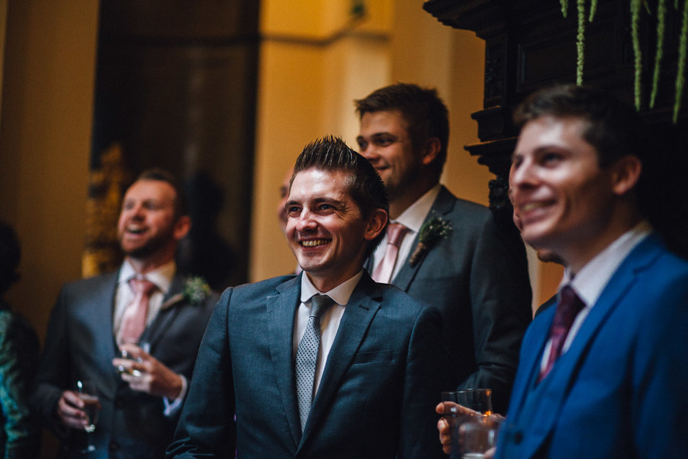 Guests Laugh During Wedding Speeches