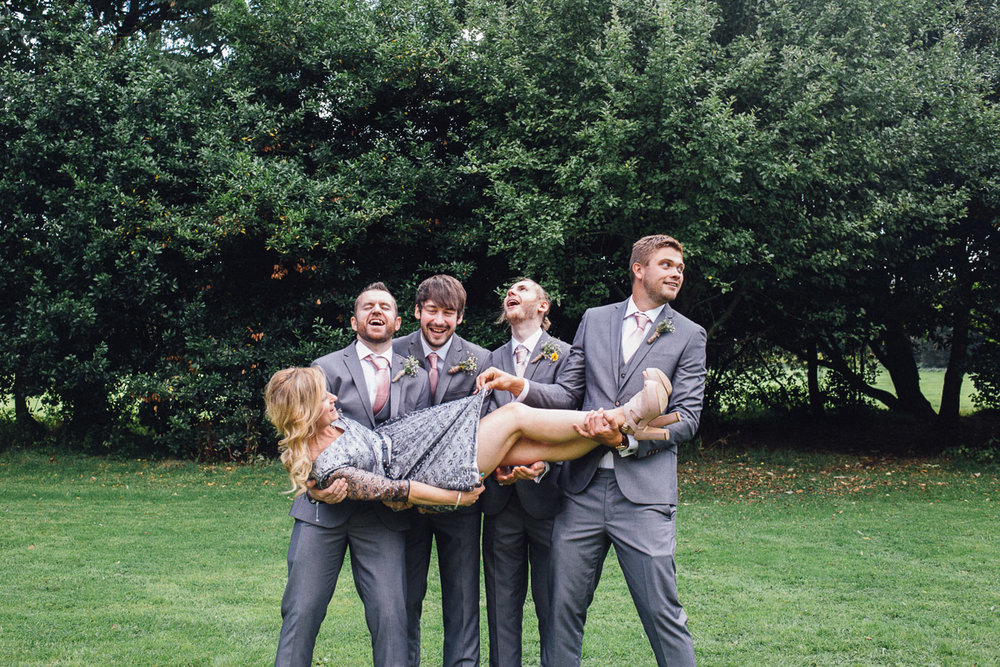 Bridal Party pull Funny Poses for Group Shots