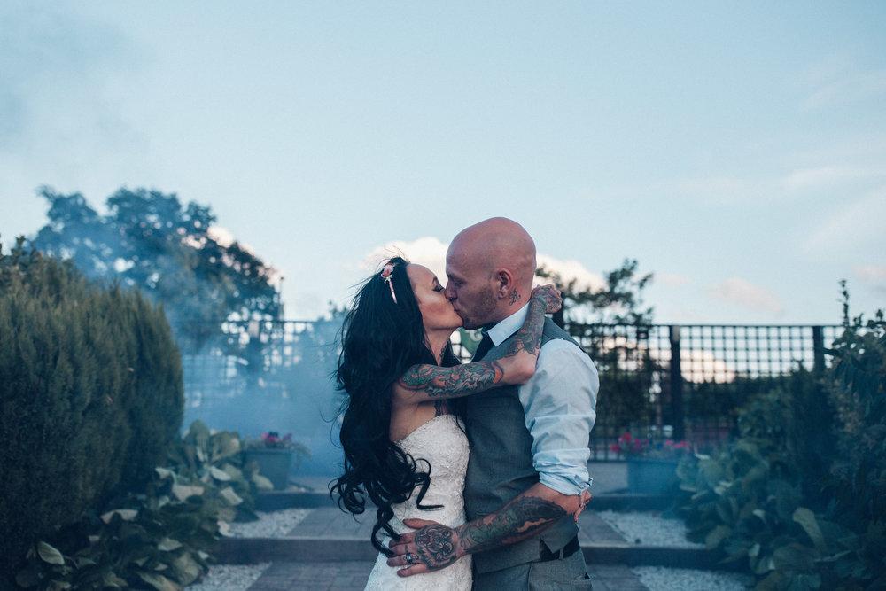 Smoke Bomb wedding photo Alternative wedding photography at Zinnia Garden Banstead