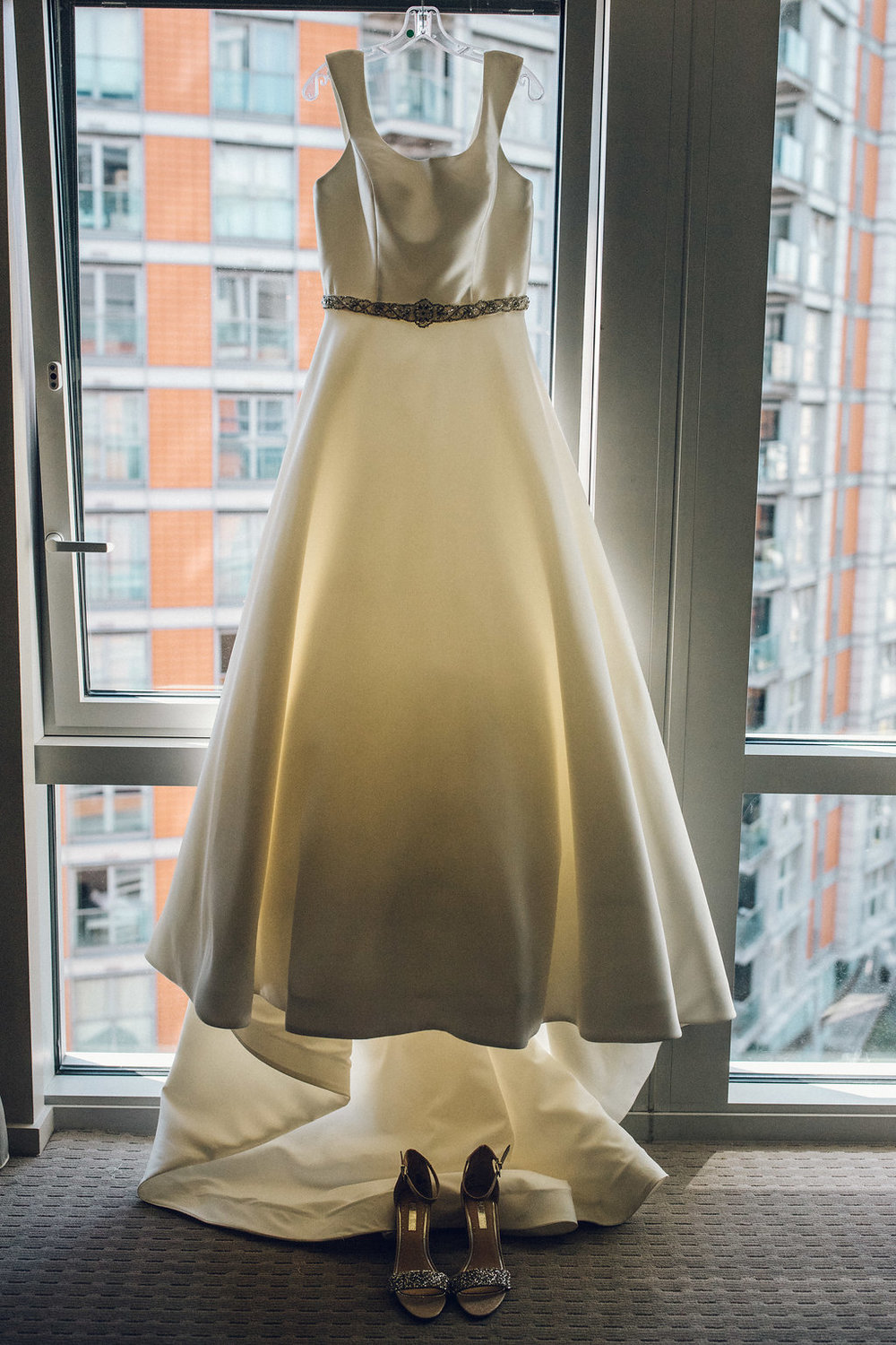 Bridal gown hanging up - Raddison Blu, Poplar