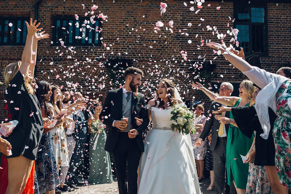 Confetti shot at Tudor Barn