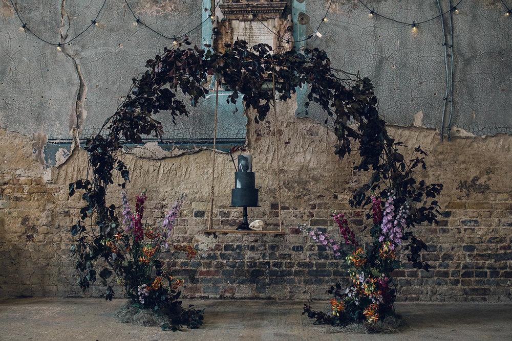 Creative Cake Swing Display Asylum Chapel London Quirky Wedding Photography