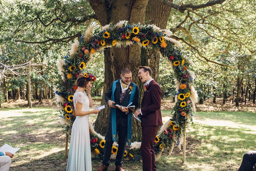 Boho Wedding Moongate Flower Ceremony Backdrop Fun Wedding Photography Essex