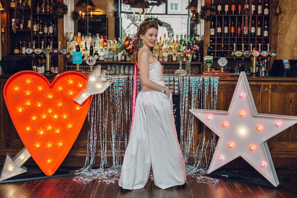 Bridal Jumpsuit Coord Alternative 2019 bridal trends London Pub Wedding
