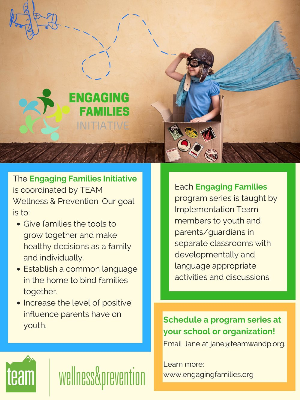 What's Engaging Families - The Engaging Families Initiative is an effort coordinated by TEAM Wellness & Prevention to-  Give families the tools to grow together and make health decisions as a family and individually.-  Establish a common language in the home to bind families together.-  Increase the level of positive influence parents have on youth.Through Engaging Families, TEAM collaborates with non-profits, school personnel, and community members deliver evidence-based or informed social emotional curriculum to youth and parents/guardians. Each Engaging Families program series is taught by trained facilitators to youth and parents/guardians in separate classrooms with developmentally and language appropriate activities and discussions.