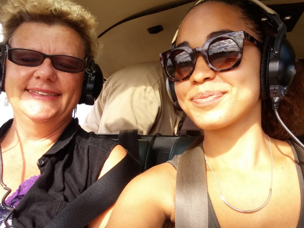 Helicopter tour with Bonnie