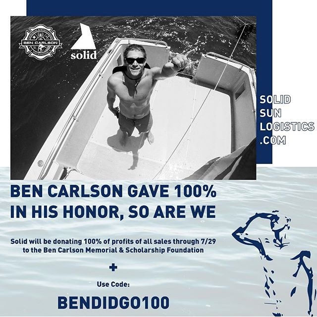 On July 6th, 2014, Newport Beach Lifeguard Ben Carlson gave his life while affecting the rescue of a complete stranger. Ben gave us all 100%. To honor him and the @bencarlson_foundation, Solid will be donating 100% of profits of all sales through 7/29 when code: BenDidGo100 is used at checkout. Being Solid means to affect people, things, and the environment positively and to always put others before yourself. Ben was a complete embodiment of that mantra and we are proud to support his legacy. #bendidgo