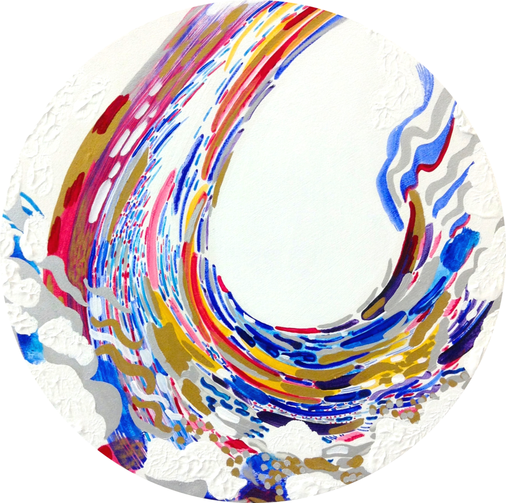 R I V E R. I  Acrylic on Canvas.  50cm diameter  SOLD.